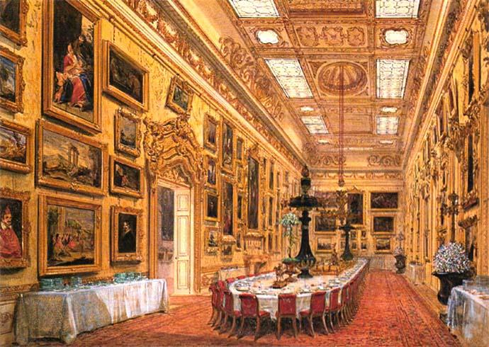 Een impressie van de Waterloo Gallery, door Joseph Nash in 1852 [Publiek domein].