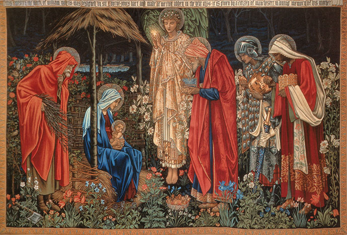 'Adoration of the Magi' door Edward Burne-Jones en William Morris (1886-1894) [Publiek domein].