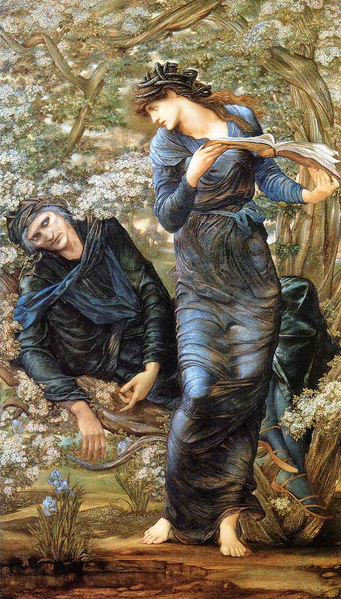 'The Beguiling of Merlin' door Edward Burne-Jones (1872-1877) [Publiek domein].