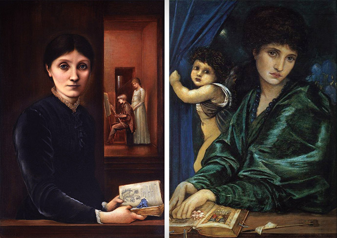 'Portret van Georgiana Burne-Jones, met Philip en Margaret' (1883) en 'Portret van Maria Zambaco' (1870) door Edward Burne-Jones (1872-1877) [Publiek domein].