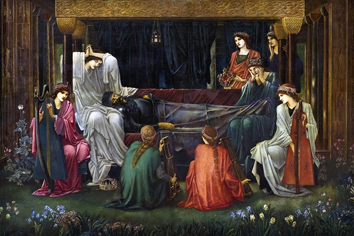 Detail van 'The Last Sleep of Arthur in Avalon' (1881-1898) [Publiek domein].