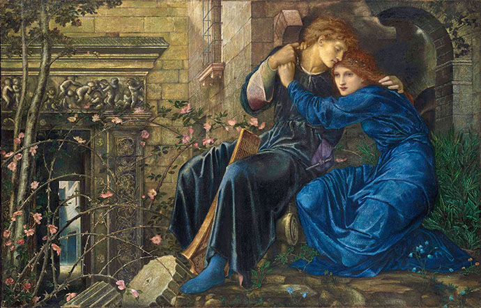 Love Among The Ruins door Edward Bure-Jones (rond 1873) [Publiek domein].
