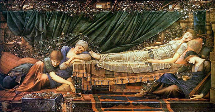 'The Rose Bower' door Edward Burne-Jones (1890) [Publiek domein].