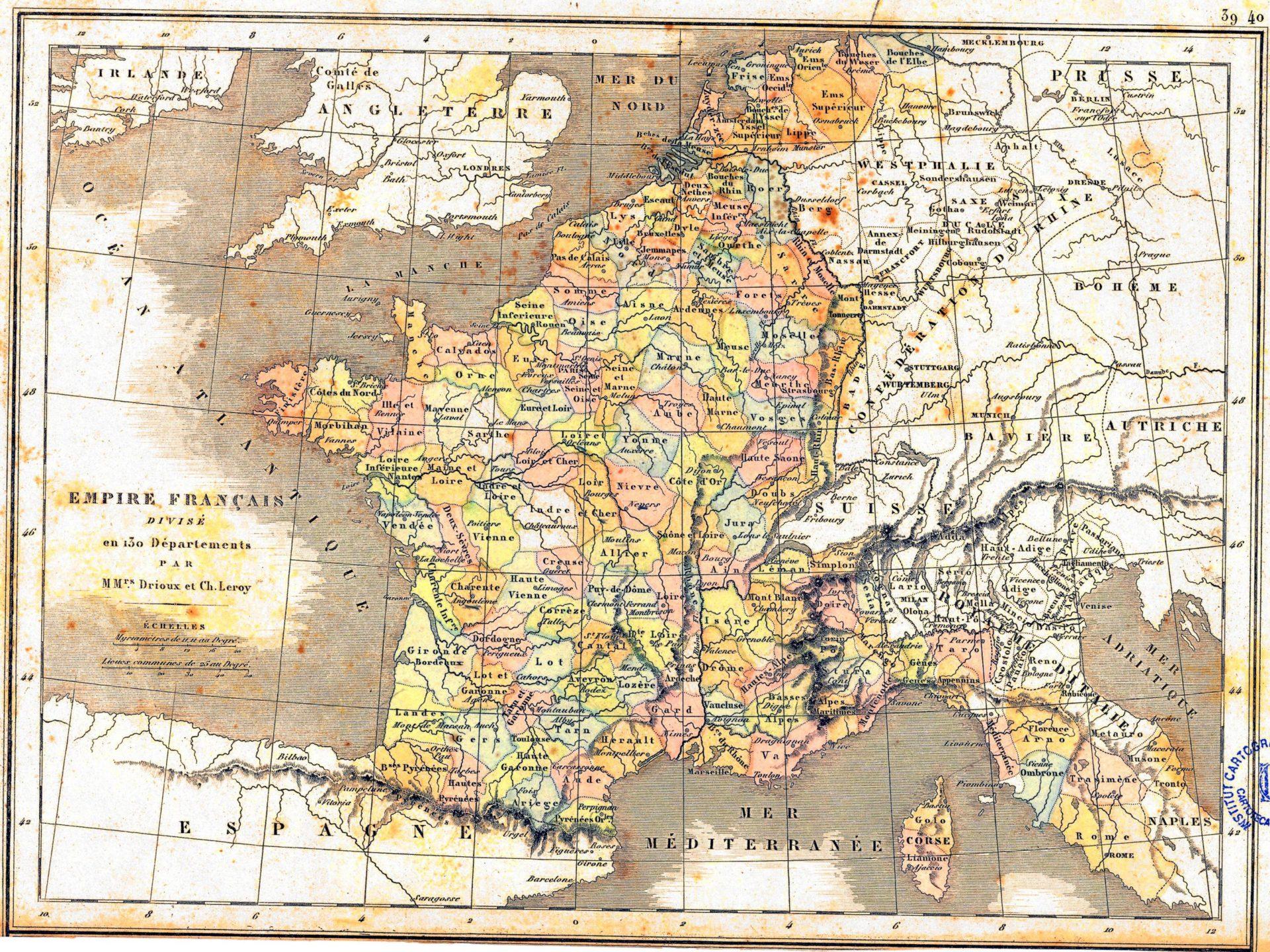 Een kaart van het Grand Empire in 1812, [Publiek domein].