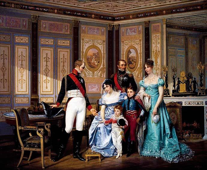 Keizerin Josephine en Koningin Hortense ontvangen samen met haar kinderen Tsaar Alexander I van Rusland. Schilderij door Hector Viger (1819-1879). [Publiek domein]