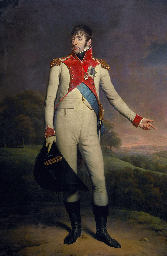 Lodewijk Napoleon, koning van Holland, Staatsieportret door de Britse schilder Charles Howard Hodges (1809). [Publiek domein]. Bewerking: My inner Victorian.