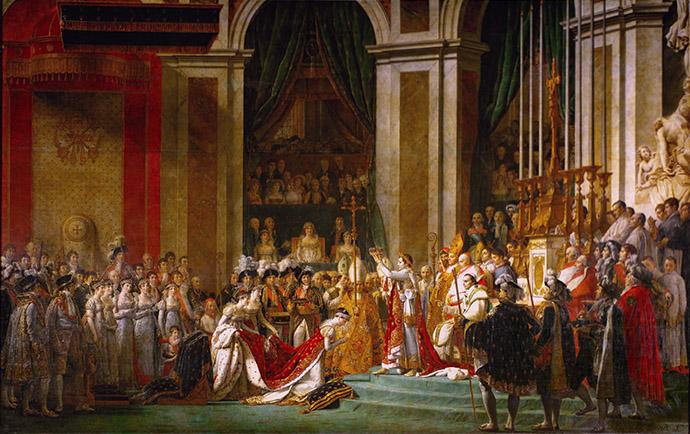 De kroning van Napoleon, door Jacques-Louis David (1807). [Publiek domein]. Bewerking: My inner Victorian.