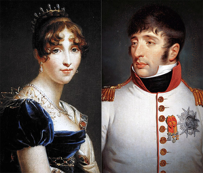 Hortense de Beauharnais, Koningin van Holland, portret door François Gérard (1770-1837). Lodewijk Napoleon, Koning van Holland, portret door de Britse schilder Charles Howard Hodges (1809). [Publiek domein].