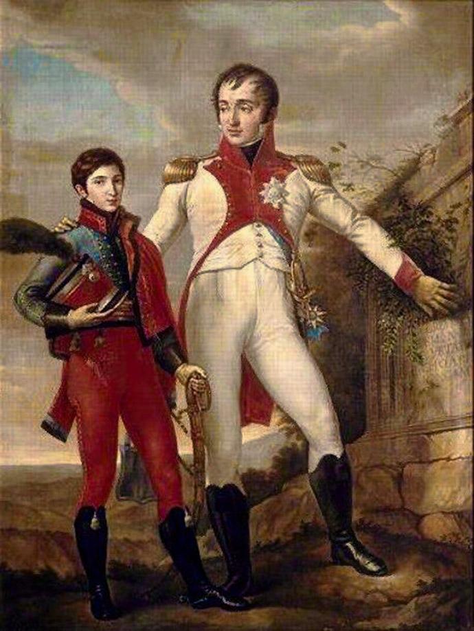 Koning Lodewijk met zijn zoon Napoleon-Louis als officier. Door Jean-Baptiste Wicar (1762-1834). [Publiek domein].