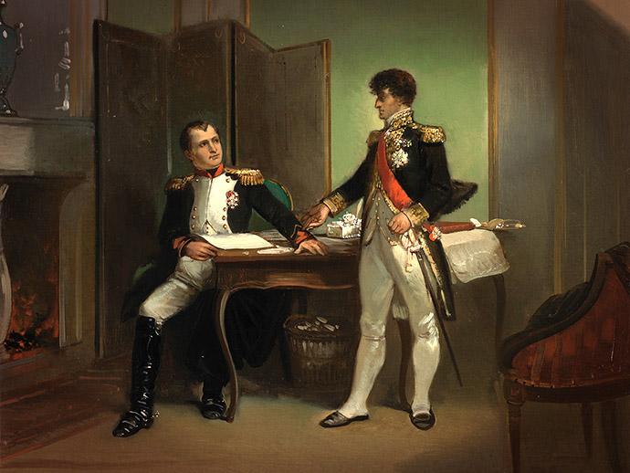 Detail uit Anno 1809. Lodewijk Napoleon verdedigt Hollands onafhankelijkheid tegenover Napoleon, door Herman Ten Kate (1863). [Publiek domein].