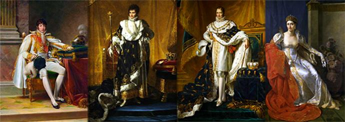 v.l.n.r. broers Louis Napoleon, Jérôme-Napoleon en Joseph-Napoleon (door François Gérard), en zus Elisa Bonaparte (door Marie-Guilhelmine Benoist). [Publiek domein].