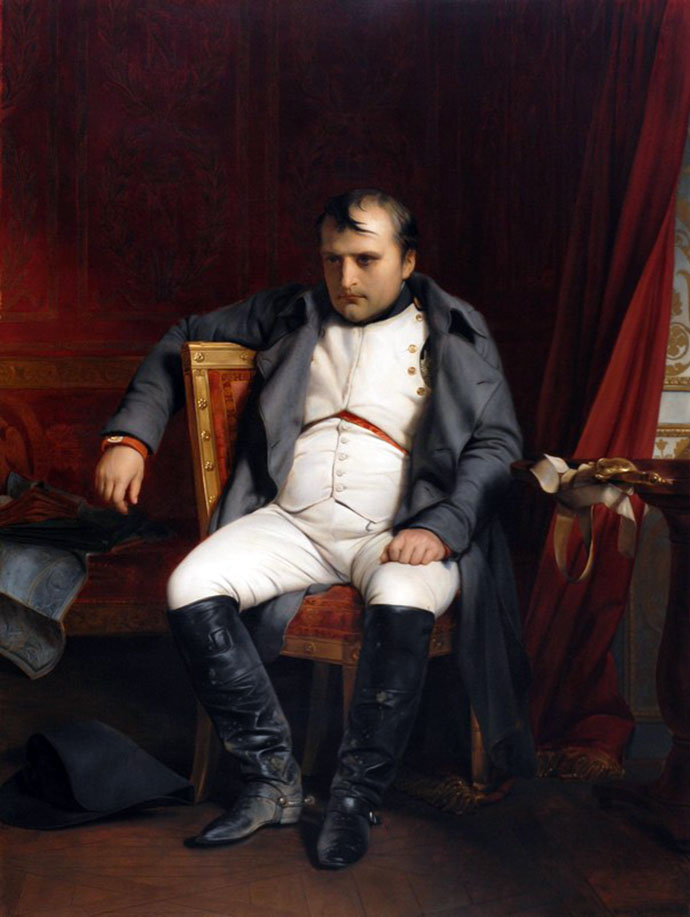 Napoleon bij Fontainebleu, 31 March 1814, door Paul Delaroche in 1846. [Publiek domein]
