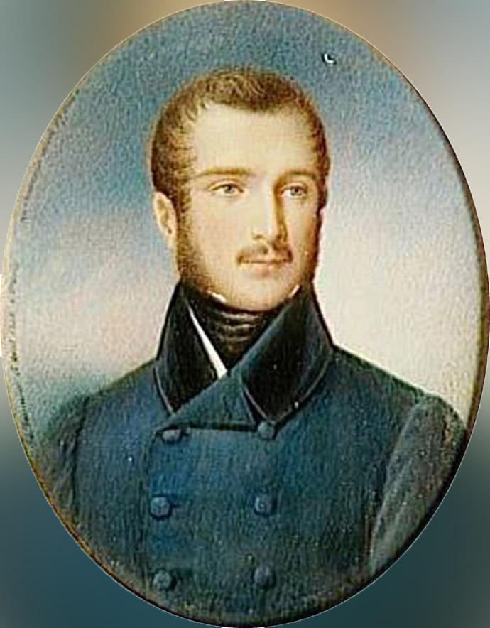 Napoleon-Louis rond 1830. Portret door Jean-Baptiste Fortuné de Fournier (1797-1864). [Publiek domein].