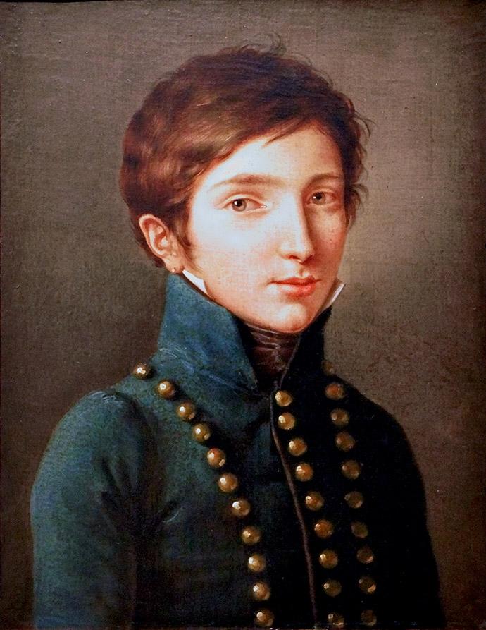 Portret van prins Napoleon-Louis Bonaparte, Lodewijk II, Koning van Holland. Door Félix Cottrau (1799–1852). [Publiek domein].