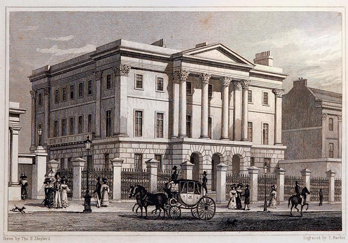Apsley House, Hyde Park Corner (1828) door Thomas Hosmer Shephard, uit: Metropolitan Improvements; or London in the Nineteenth Century, uitgebracht door James Elmes (1782-1862) [Publiek domein].