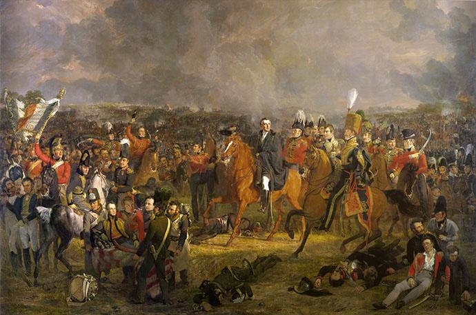 Slag bij Waterloo, door de Nederlandse kunstschilder Jan Willem Pieneman, voltooid in 1824 [Publiek domein].