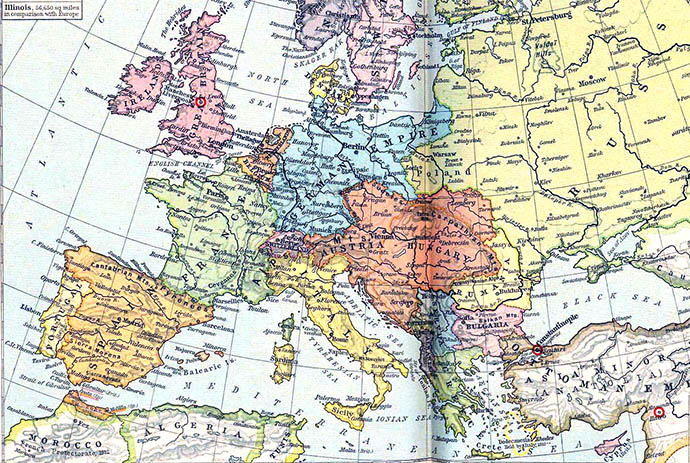 Een historische kaart van Europa in de periode 1871-1914. Uit: Historical Atlas by William Shepherd (University of Texas at Austin, 1923-26) [Publiek domein].