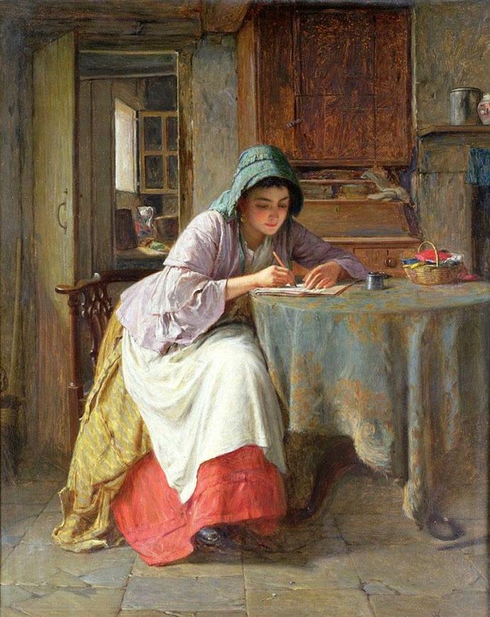 schrijvende victoriaanse vrouw