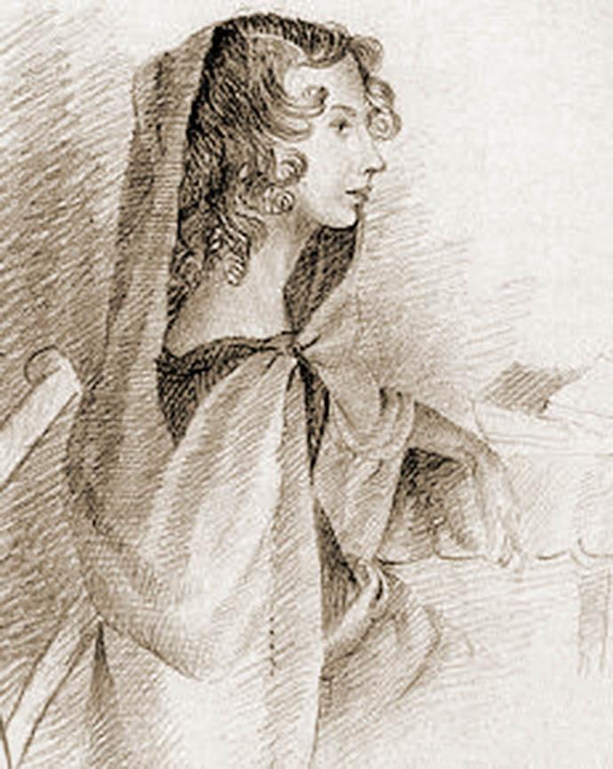 Een potloodtekening van Anne, door haar zus Charlotte in 1845 [Publiek domein].