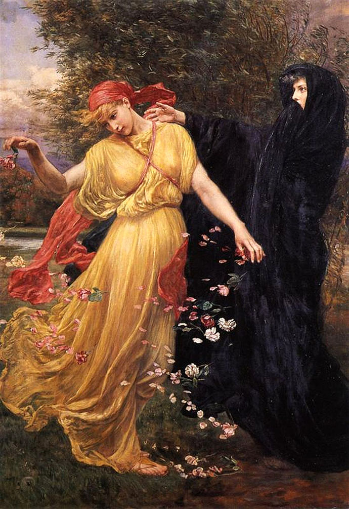 At the First Touch of Winter Summer Fades Away (1897) door de prerafaelitische kunstschilder Valentine Cameron Prinsep [Publiek domein].