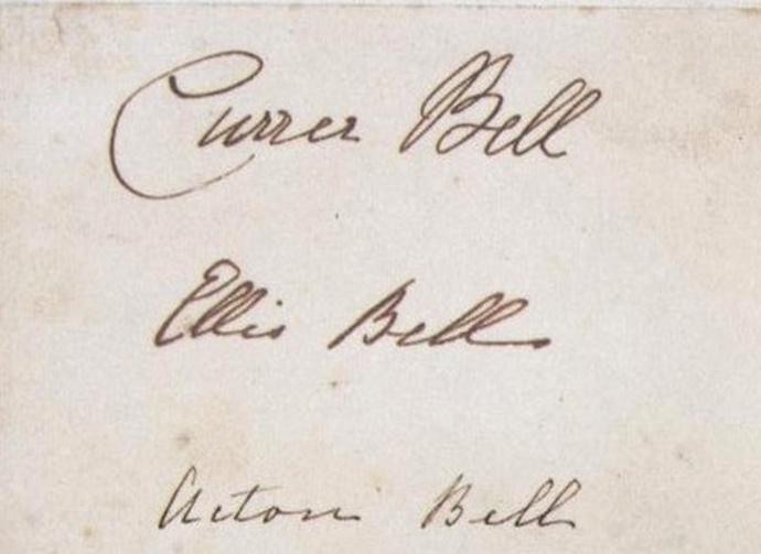 De 'handtekeningen' van de drie schrijfsters onder hun pseudonymen 'Currer', 'Ellis' en 'Acton Bell', rond 1846 [Publiek domein].