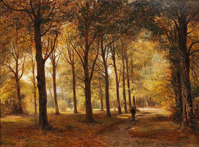 Le Bois de Haarlem in Holland (1862) door de Nederlandse schilder Everhardus Koster (1817-1892) [Publiek domein].