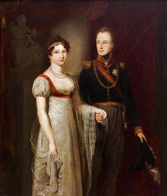 Kroonprins Guillot met zijn bruid, Anna Paulowna, het jongste zusje van de Russische tsaar Alexander I. Portret door Jan Willem Pieneman in 1816 [Publiek domein].