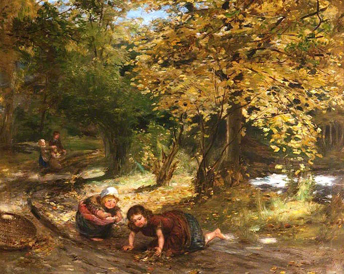 Autumn Leaves (1875) door de Schot William McTaggart [Publiek domein].