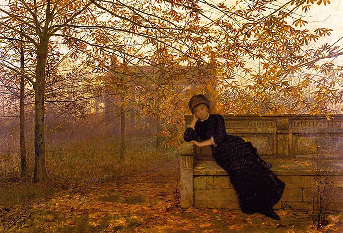 Autumn Regrets (1882) door John Atkinson Grimshaw [Publiek domein].