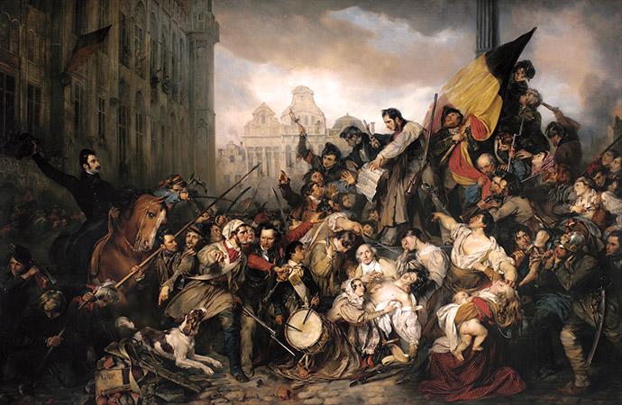 De Septemberdagen 1830 op de Grote Markt te Brussel, door Gustaaf Wappers in 1835 [Publiek domein].