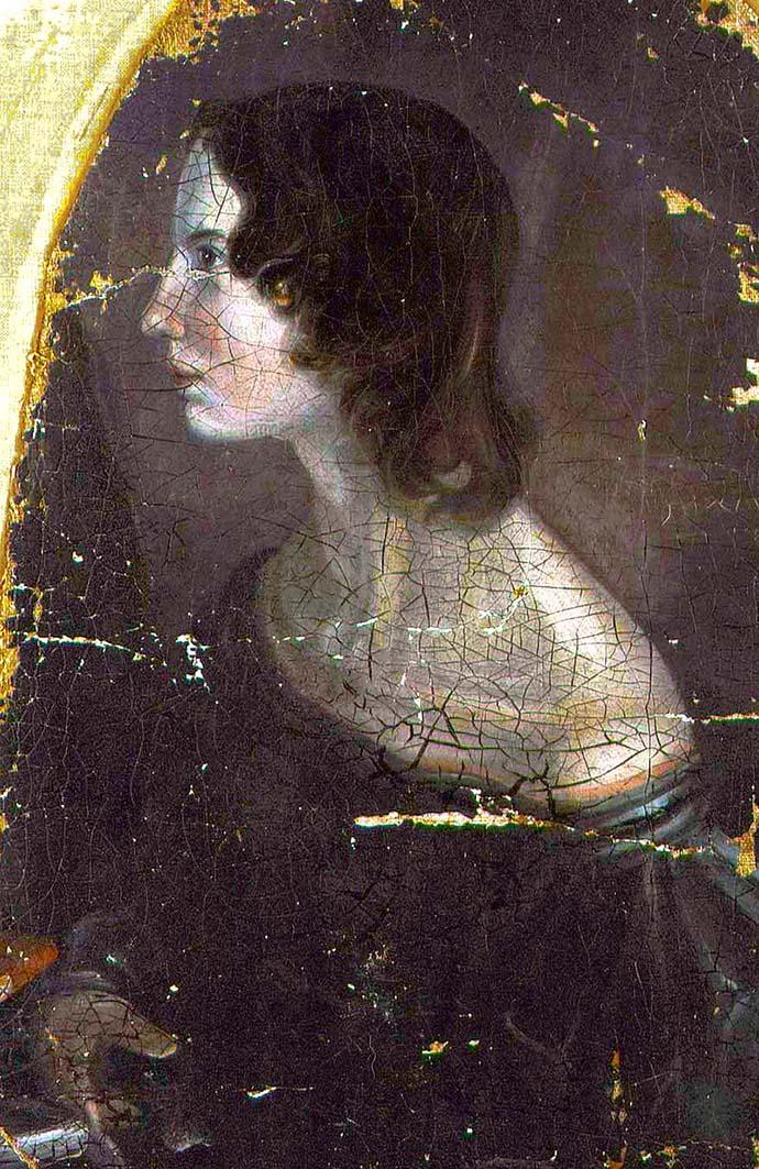 Van dit portret wordt vermoed dat het van Emily Brontë is; al zijn er ook kenners die zeggen dat het om Anne gaat. Door Branwell in 1834 [Publiek domein].
