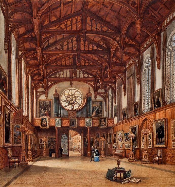 Hier wandelen Guillot en Anna Paulowna door de Gotische Zaal op Paleis Kneuterdijk, die dan net in gebruik is genomen als museumzaal. Aquarel uit 1842 door Huib van Hove [Publiek domein].
