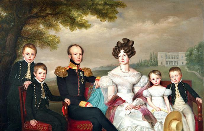 Willem II met zijn jonge gezin, met op de achtergrond [???]. Door Jan Baptist van der Hulst (1832).