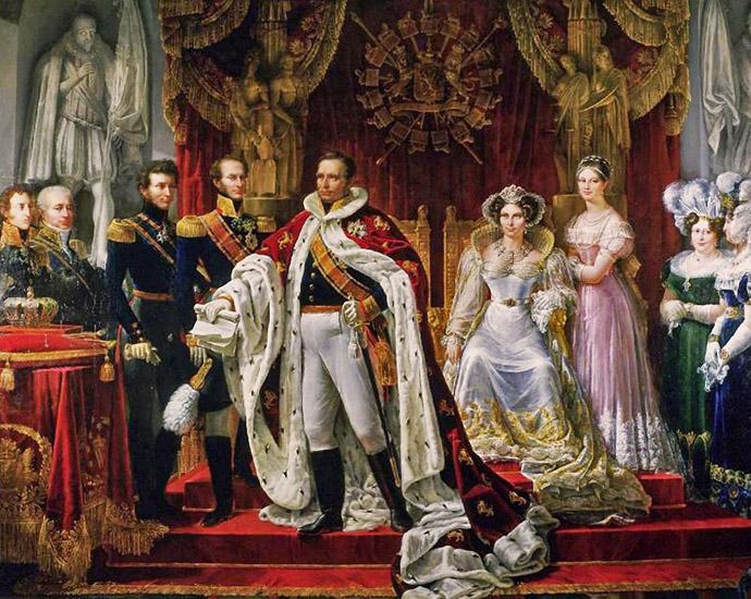 De koninklijke familie in de Amsterdamse Nieuwe Kerk, bij de kroning Willem I der Nederlanden. Door Jan Willem Pieneman in 1815 [Publiek domein].