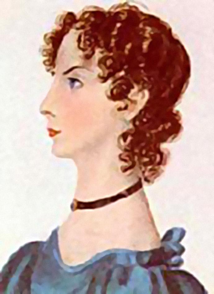 Anne Brontë, geportretteerd door haar zus Charlotte in 1834 [Publiek domein].