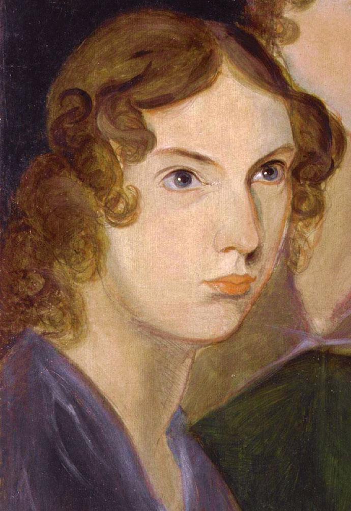Het beroemde portret van Anne Brontë, een detail van het schilderij dat broer Branwell maakte van zijn drie zussen, in 1834 [Publiek domein].