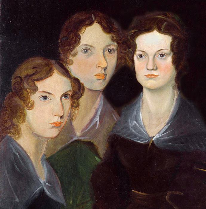 V.l.n.r: Anne, Emily en Charlotte Brontë, geschilderd door hun broer Branwell, rond 1834 [Publiek domein].