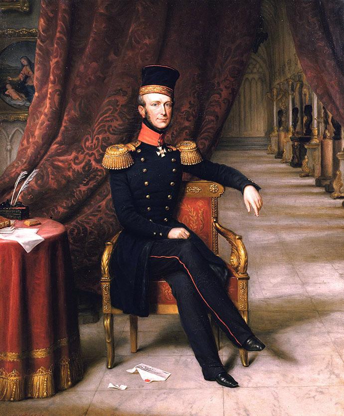Zittend portret van Willem II, door Jan Baptist van der Hulst in 1848.