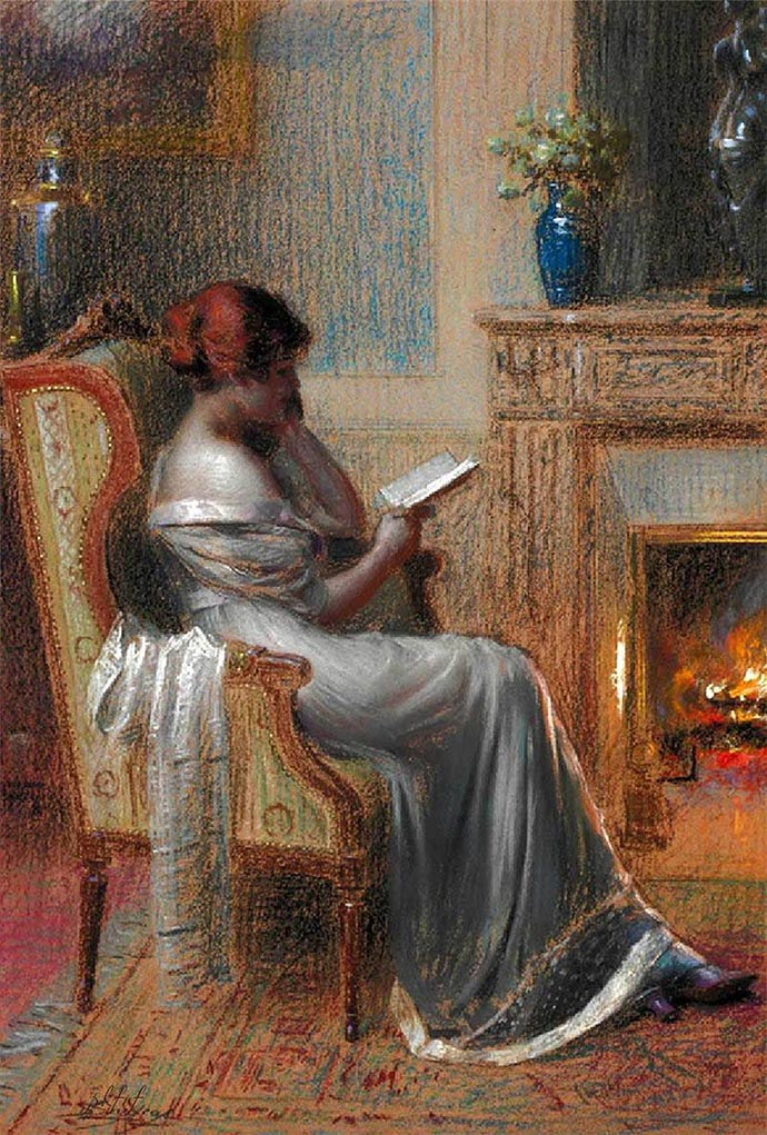 Reading By The Fire, door de Franse kunstenaar Delphin Enjolras.