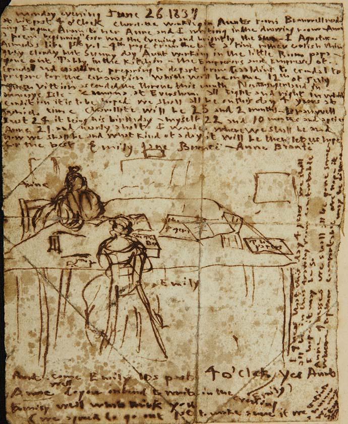 Een pagina uit het dagboek van Emily Brontë, met een schets waarop ze laat zien hoe zij en Anne samen aan tafel in de pastorie zitten te schrijven, in juni 1837 [Publiek domein].