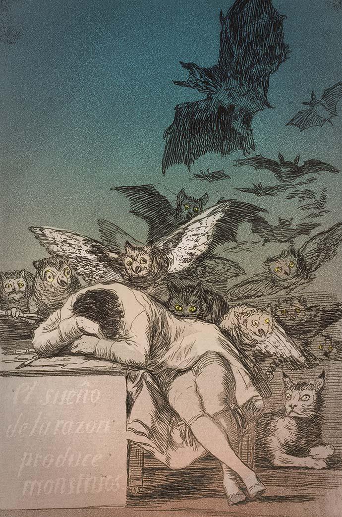 """""""De slaap van het verstand brengt monsters voort."""" Door de Spaanse kunstenaar Francisco Goya (1746-1828) [Publiek domein]. Kleurenbewerking door My inner Victorian."""