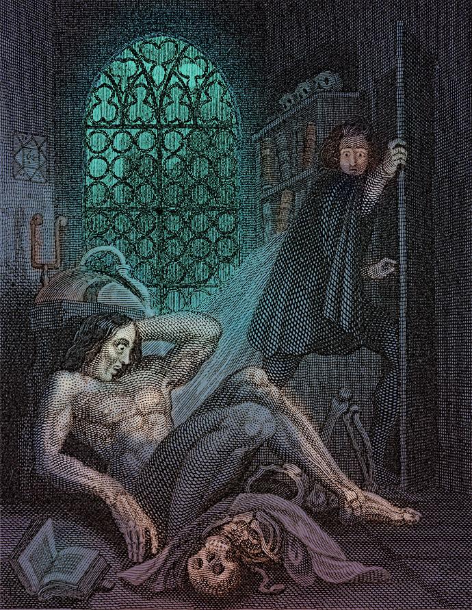 Voorblad van Mary Shelleys Frankenstein, in de editie uit 1831 [Publiek domein]. Kleurenbewerking door My inner Victorian.