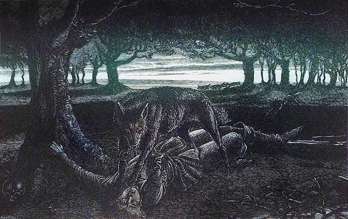 Afbeelding uit The Book of Werewolves (1865) [Publiek domein]. Kleurenbewerking door My inner Victorian.