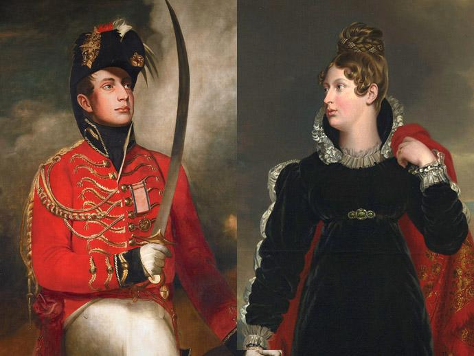Twee portretten van Guillot, als jonge officier in het leger van de Britse generaal Wellington (tussen 1812 en 1815, door een anonieme schilder naar een werk van John Singleton Copley), en Prinses Charlotte van Wales (rond 1816-1818, door George Dawe) [Publiek domein]. Compilatie door My inner Victorian.