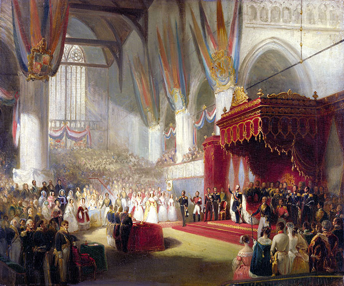 De inhuldiging van koning Willem II in de Nieuwe Kerk in Amsterdam op 28 november 1840. Schilderij door hofschilder Nicolaas Pieneman.