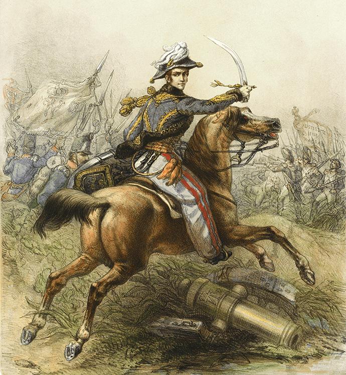 Prins Willem voert zijn troepen aan bij de Slag bij Waterloo, in 1815. Impressie door Theodore Schaepkens [Publiek domein].