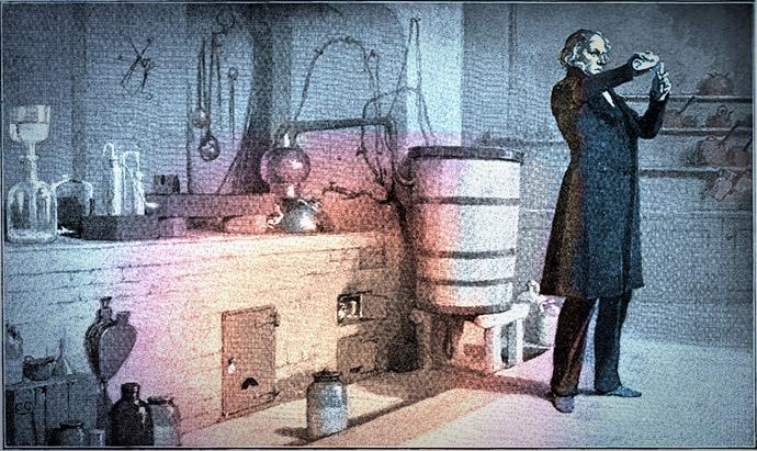 De geleerde Professor Redlaw brengt zijn Kerst door in zijn eenzame laboratorium. Illustratie door Charles Green (1893), uit: Charles Dickens' The Haunted Man and The Ghost's Bargain. A Fancy for Christmas Time, Pears Centenary Edition (1912). Bron: victorianweb.org. Ingekleurd door © <em>My inner Victorian</em>.