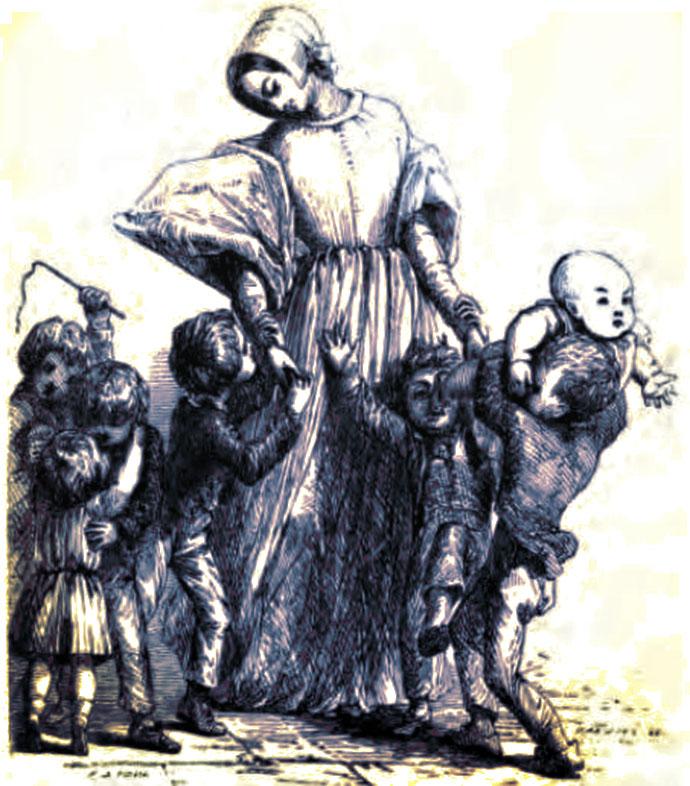 Iedereen is blij om Milly te zien. Illustratie door Frank Stone (1848) [Publiek domein]. Kleurbewerking door My inner Victorian.
