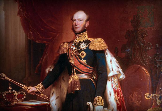 Koning Willem II der Nederlanden, detail van een portret door Nicolaas Pieneman (1809-1860) [Publiek domein]. Bewerking door My inner Victorian.