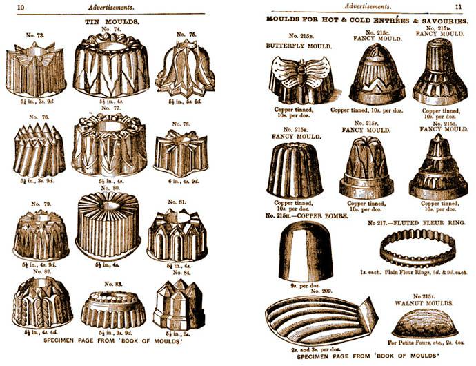 Advertentie voor tinnen en koperen vormen in Agnes B. Marshall's Cookery Book (editie 1894) [Publiek domein].